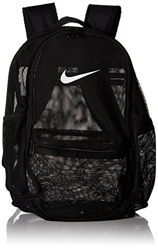 NIKE Brasilia Mesh Backpack, Black/White, One Size