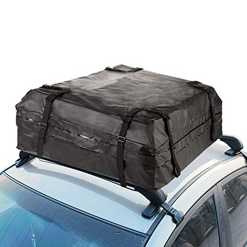 (ReOPen Rooftop Cargo Bag - Waterproof Carrier Bag for Cars, Vans and SUVs - Best for Travelling (15 Cubic Feet) - Black)