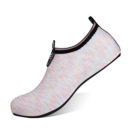 Heeta Barefoot Water Sports Shoes for Women Men Quick Dry Aqua Socks for Beach Pool Swim Yoga Mix Colour L