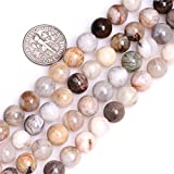 8mm Natural Round Cream White Bamboo Agate Stone Spacer Beads for Jewelry Making Strand 15""