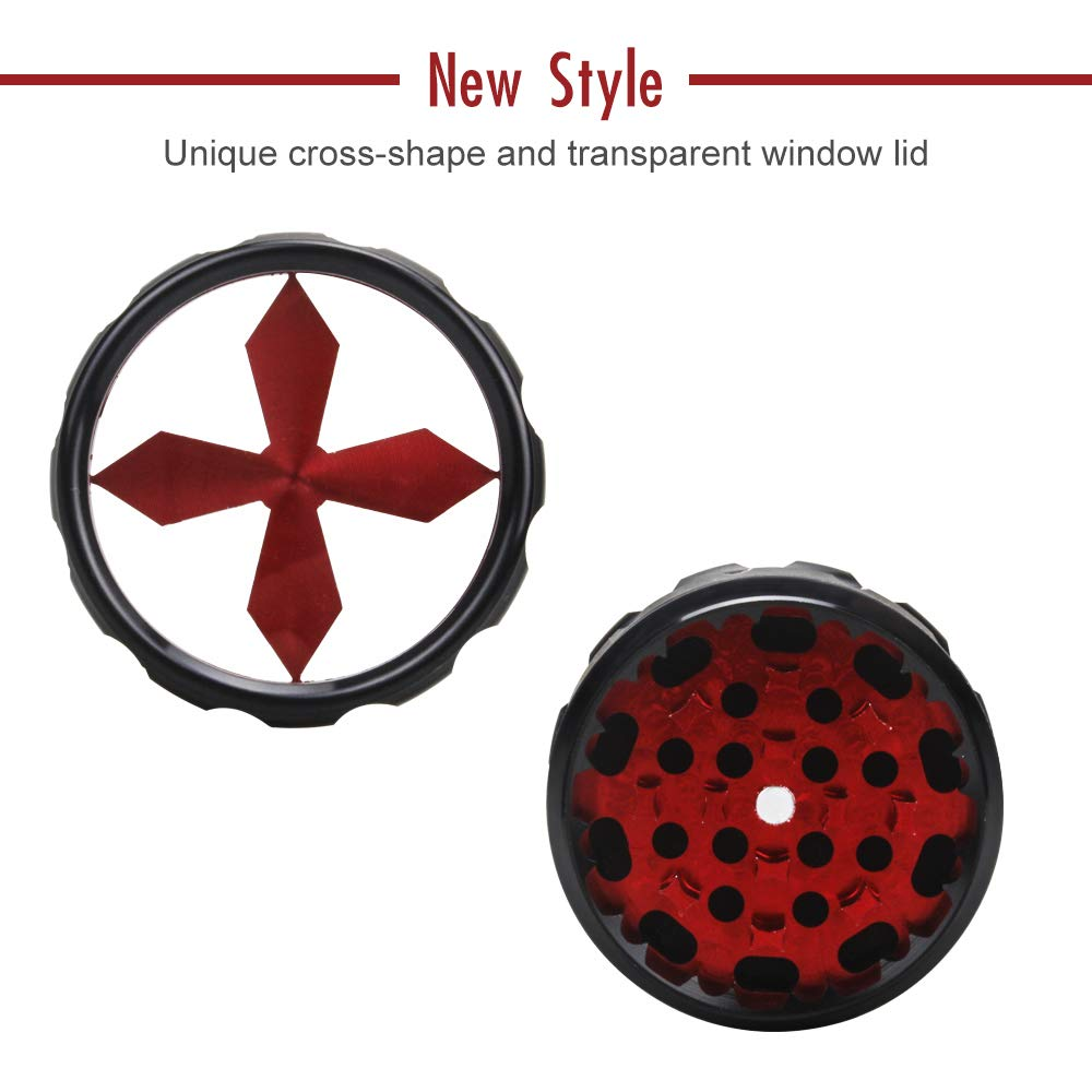 Premium Aluminium Herb Grinder by Fengli 2.5/'/' Large 4-Part Spice Herb Grinder with Pollen Screen,Red