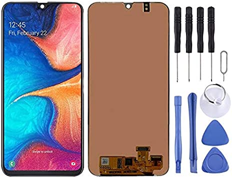 Black LIYUNSHU LCD Screen and Digitizer Full Assembly for Galaxy A20 Color : Black