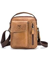 MUMUWU Leather Mens Bag Leather Multi-Function Vintage Mens Wallet Buckle Clutch Long Bag Red Size S