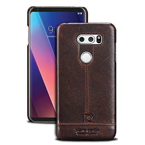 (LG V30 Leather case,Pierre Cardin Genuine Cow Leather Protective Slim Fit Snap Case Skin Cover for LG V30 (Dark Brown))