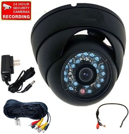 VideoSecu Outdoor Day Night Infrared Dome Security Camera Built-in CCD 600TVL High Resolution Vandal Proof 20 IR LEDs for CCTV DVR with Cable and Bonus Power Supply 1V3