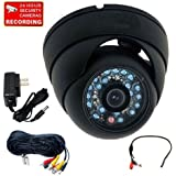 VideoSecu Outdoor Day Night Infrared Security Camera 600TVL Built-in 1/3 CCD 20 IR LEDs Vandal Proof CCTV Home Surveillance DVR System with Extension Cable, Power Supply 1V3