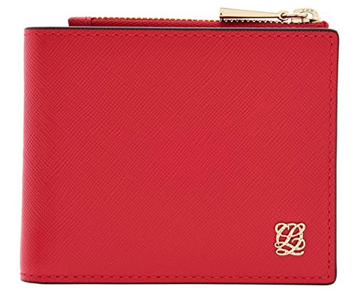 LQ LOUIS QUATORZE Women's Cow Leather Bifold Mini Wallet with Zipper Red SK4AL72RE One Size Red by LQ LOUIS QUATORZE