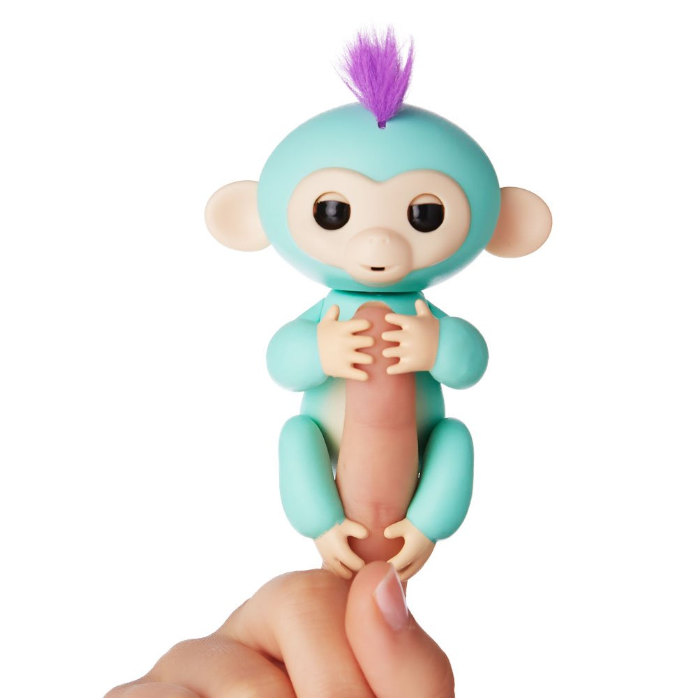 Fingerlings - Interactive Baby Monkey - Zoe (Turquoise with Purple Hair) By WowWee by WowWee (Image #2)