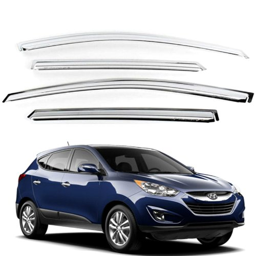 - Chrome Sun Visors Vent Shade/Rain Window Guards for 2010 2011 2012 2013 Hyundai Tucson