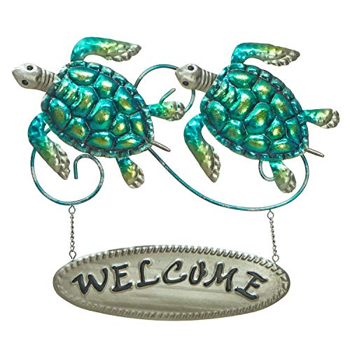 """(Turtle Welcome Sign - 3D Metal Wall Decor - Hand-Painted - 13 ½ """" x 11 ½ """"- Wall Art - Indoor or Outdoor Use – Contemporary Home Decoration in Coastal Style)"""