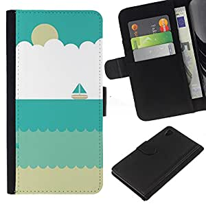 Sand Velero Verano Beach Sun- la tarjeta de Crédito Slots PU Funda de cuero Monedero caso cubierta de piel Para Sony Xperia Z3 Plus / Z3+ / Sony E6553 (Not Z3)
