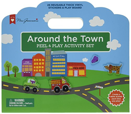 Mrs. Grossman's - Around The Town - Peel & Play Kids Activity Set with Reusable Vinyl Stickers & Fold-Out Story Board - with Storage & Travel Handle - for Boys & Girls Ages 3 & Up