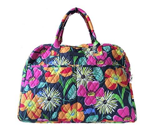 Vera-Bradley-Weekender-Tote-Jazzy-Blooms-with-Solid-Orange-Interior