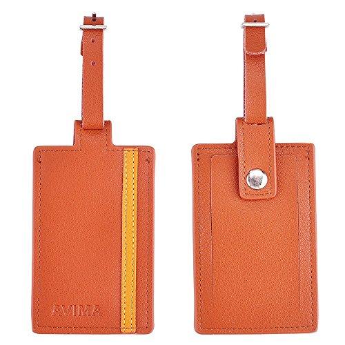 AVIMA Premium Luxury Handmade Soft Leather Travel Suitcases Luggage & Bag Tags 2pcs Set (Brown)