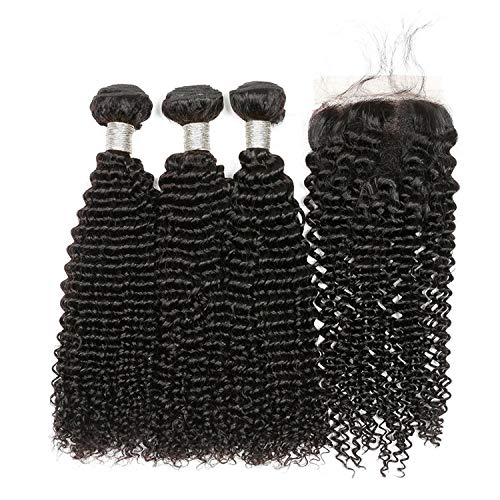 - Afro Kinky Curly Hair With Closure Brazilian Remy Hair Human Hair Bundles With Closure 3 Bundles With Closure Welcome the good future 9A Bundles,8 8 8 & Closure8,#1B,Three Part