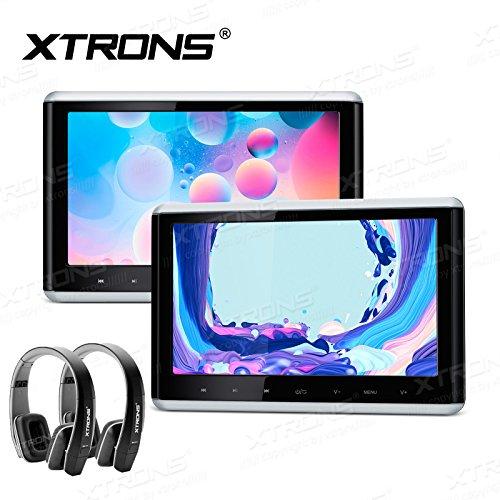 XTRONS 2 x Touch Panel Pair 10.2″ HD Digital TFT Screen 1080P Video Car Active Headrest DVD Player New Version IR Black Headphones
