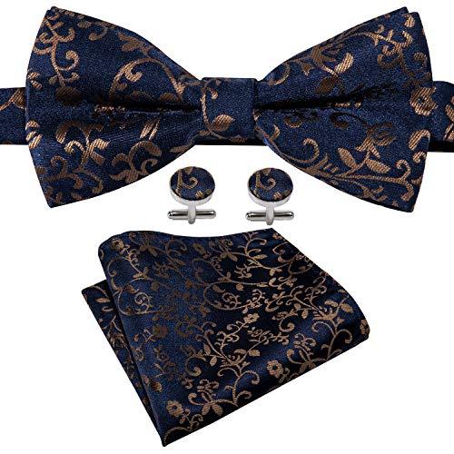 Mens Bow Tie Set Pretied Bow Tie Designer Paisley Bowtie Set Yohowa (Brown) ()