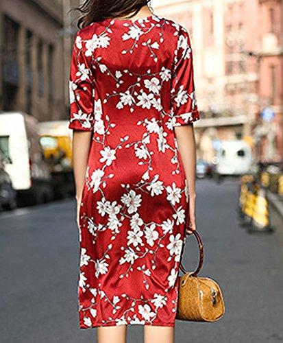 Kleider Long DISSA Gestreift Abendkleid Rot Übergröße Damen Knee S9987 Kleid Cocktail Seide IZwzUZq