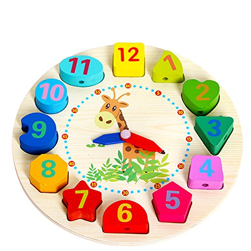 AckfulEducational Baby Wooden Clock Beaded Beads Toy Toddler Infant Intelligence Toys