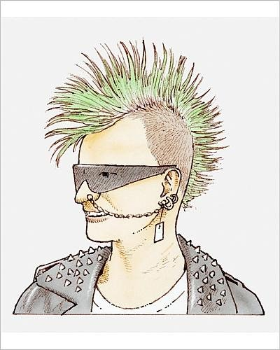 Photographic Print of Illustration of man with mohican haircut, sunglasses and - Haircut Sunglasses