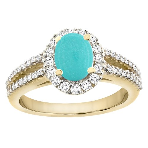 (10K Yellow Gold Natural Turquoise Split Shank Halo Engagement Ring Oval 7x5 mm, size 10 )