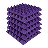MMT Acoustix Pyramid Studio Acoustic Panel , 1'x1', 2', Studio Purple, Set of 18