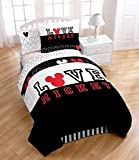 Disney MICKEY MOUSE Classic ''LOVE'' Black and White TWIN SIZE COMFORTER (64'' x 86''), ONE SHAM, ONE BEDSKIRT, Twin SHEET SET & ONE TOSS PILLOW!
