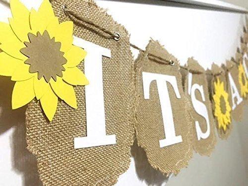 Sunflower It's A Girl Banner, Sunflower It's A boy Banner, Burlap Summer Banner, Sunflower decorations, Sunflower Baby Shower Banner, Burlap and Cardstock Banner