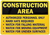 """SmartSign Aluminum Sign, Legend """"Construction Area Authorized Personnel Only"""", 10"""" high x 14"""" wide, Black on Yellow"""