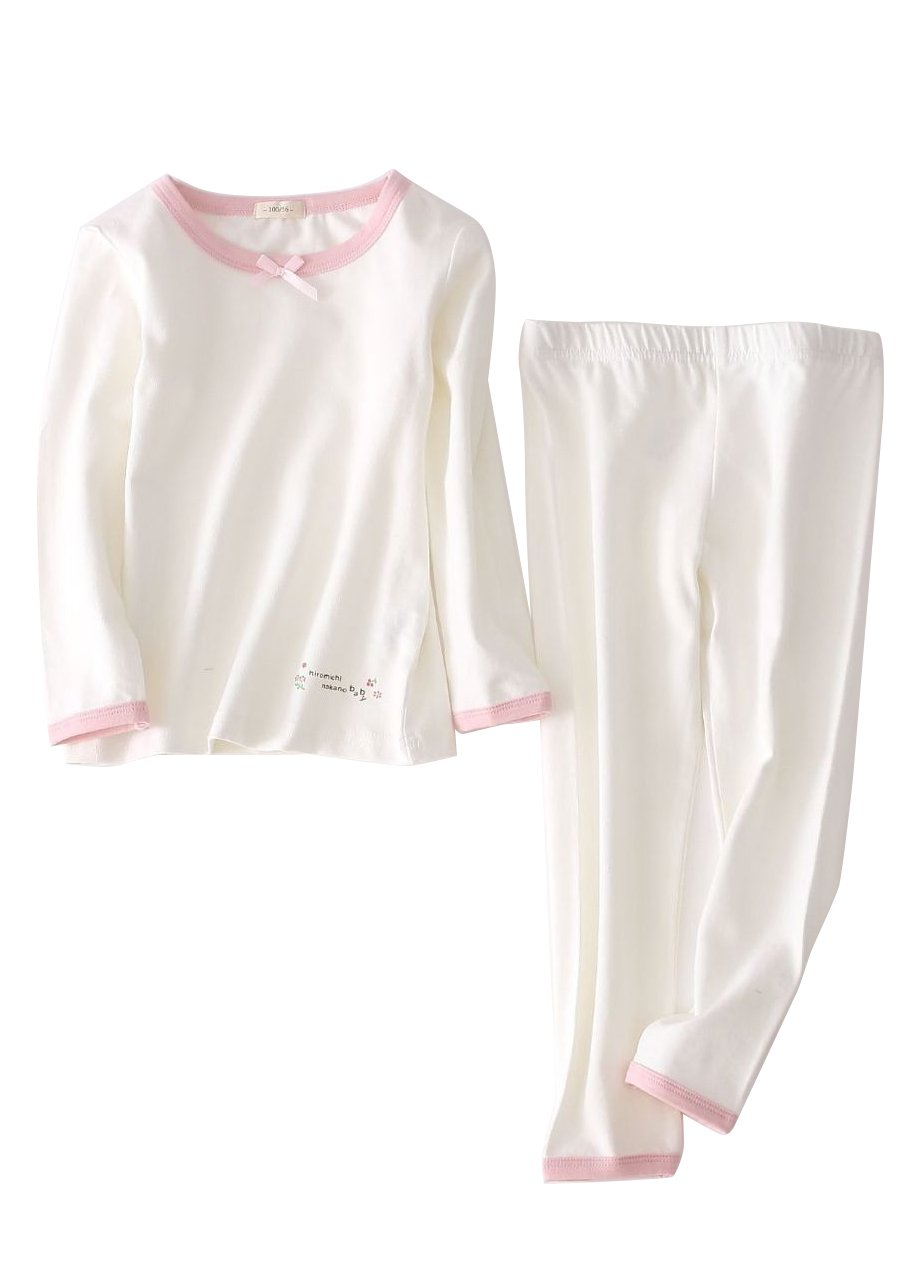 Autumn Long Sleeve Pajamas Set for Girls Boys Kid's Costumes Cotton Tops and Pants (6, White)