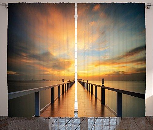 "Ambesonne Landscape Curtains, Wood Deck Bridge Sea at Sunset Horizon with Dramatic Sky Autumn Scenery Print, Living Room Bedroom Window Drapes 2 Panel Set, 108"" X 84"", Orange Brown"