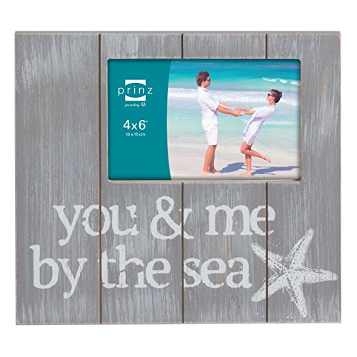 Prinz You and Me, By The Sea Solid Wood Frame, 4 by 6-Inch, Gray