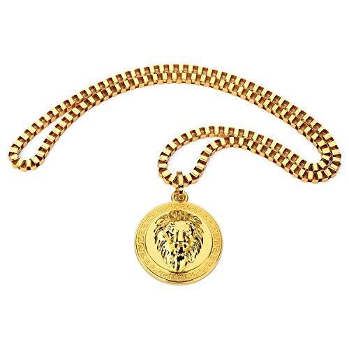 Bruce Brother Gold Plated Stainless Steel Lion Head Round Pendant for Men,75cm Chain
