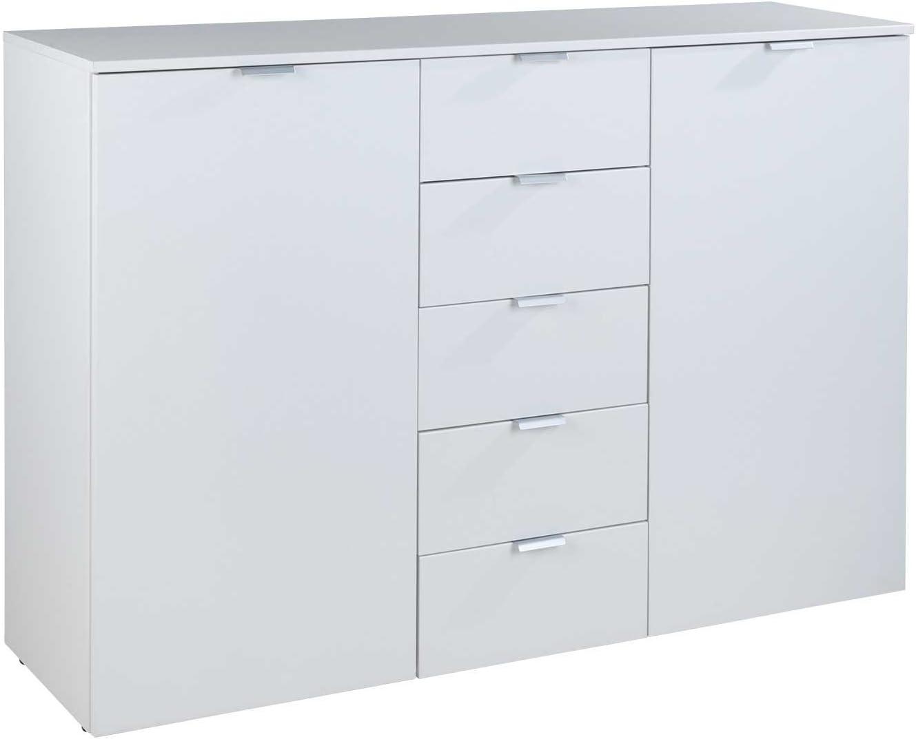 Multipurpose Sanford 3 Polar White 2 Door 5 Drawer Sideboard Amazon De Küche Haushalt