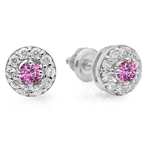 - 14K White Gold Real Pink Sapphire & White Diamond Ladies Cluster Stud Earrings