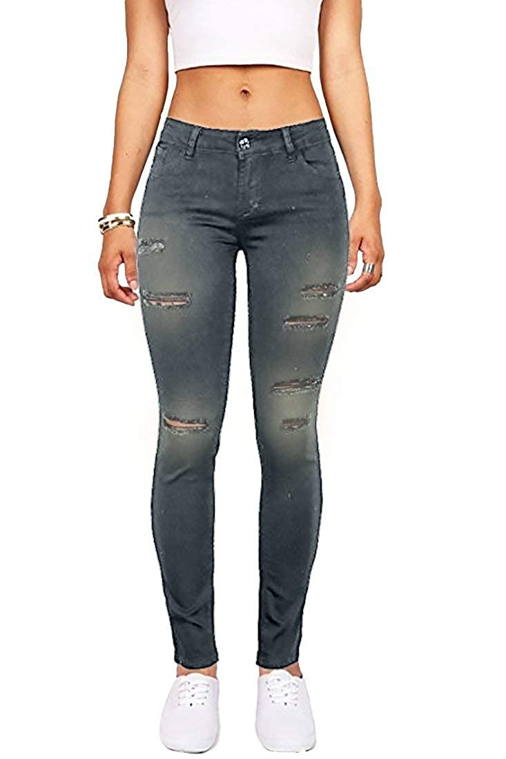 ef0859842ca3 Wax Women's Juniors Mid-Rise Skinny Jegging Jeans w Distressing at Amazon  Women's Jeans store