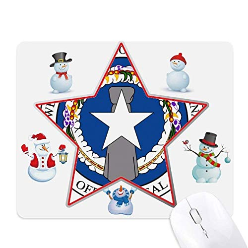 Northern Mariana Islands National Emblem Christmas Snowman Family Star Mouse Pad