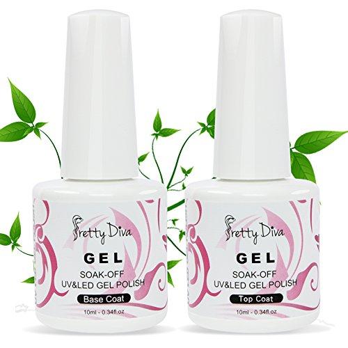 PrettyDiva Gel Nail Polish Base and Top Coat Set Soak Off UV LED Gel Nail Lacquer ( Base and No Wipe Top Coat)
