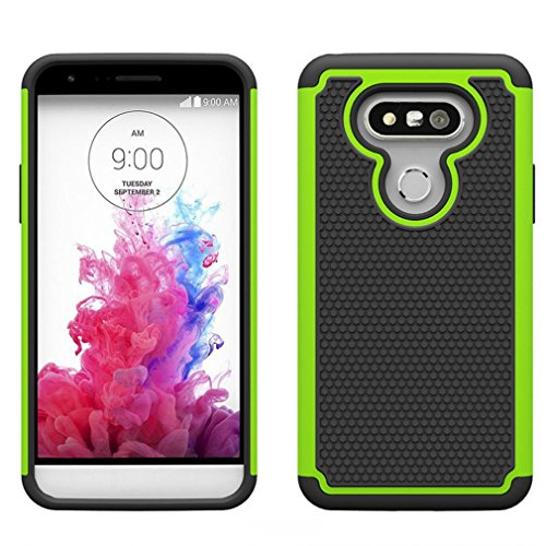 Voberry Heavy Duty Dual Layer Armor Protective Case for LG G5 Smartphone (Green)