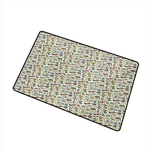 (Music Universal Door mat Drums Fun Keyboard Icons Guitar Tempo Harp MP3 Playing Boombox Gjettoblaster Graphic Door mat Floor Decoration Multicolor)