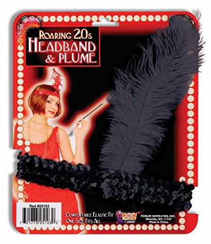 - Black Sequin Flapper Showgirl Vegas Headband with Black Plume