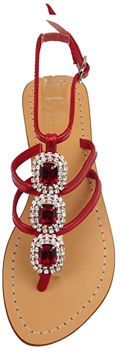 303ccd8cf PASHA Guam Crystal Jeweled Leather Sandals (5) Silver Red