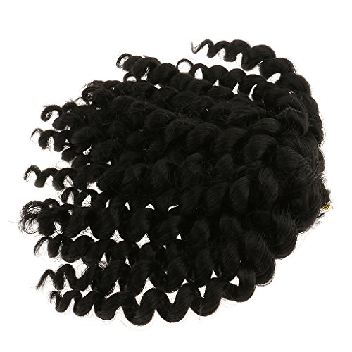 MagiDeal Jumpy Black Brown Short Wand Curl Braid Twist Synthetic Braiding Curly Hair Extensions Crochet Tangle Free 20 Strands/Pack 10 inches 80g - #2, as described (Twists Strand Two)
