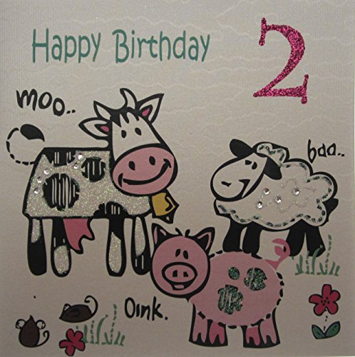 Handmade Cotton Card - White Cotton Cards Handmade Farm Yard Animals Pink Glittered Number 2Nd Happy Birthday Card, White