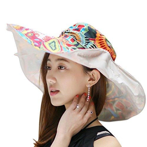 Women's Foldable Floppy Reversible Travel Beach Sun Visor Hat Wide Brim UPF 50+ ()