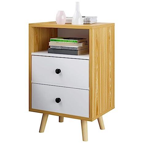Amazon.com: Mesita de noche con 2 cajones, armario de madera ...