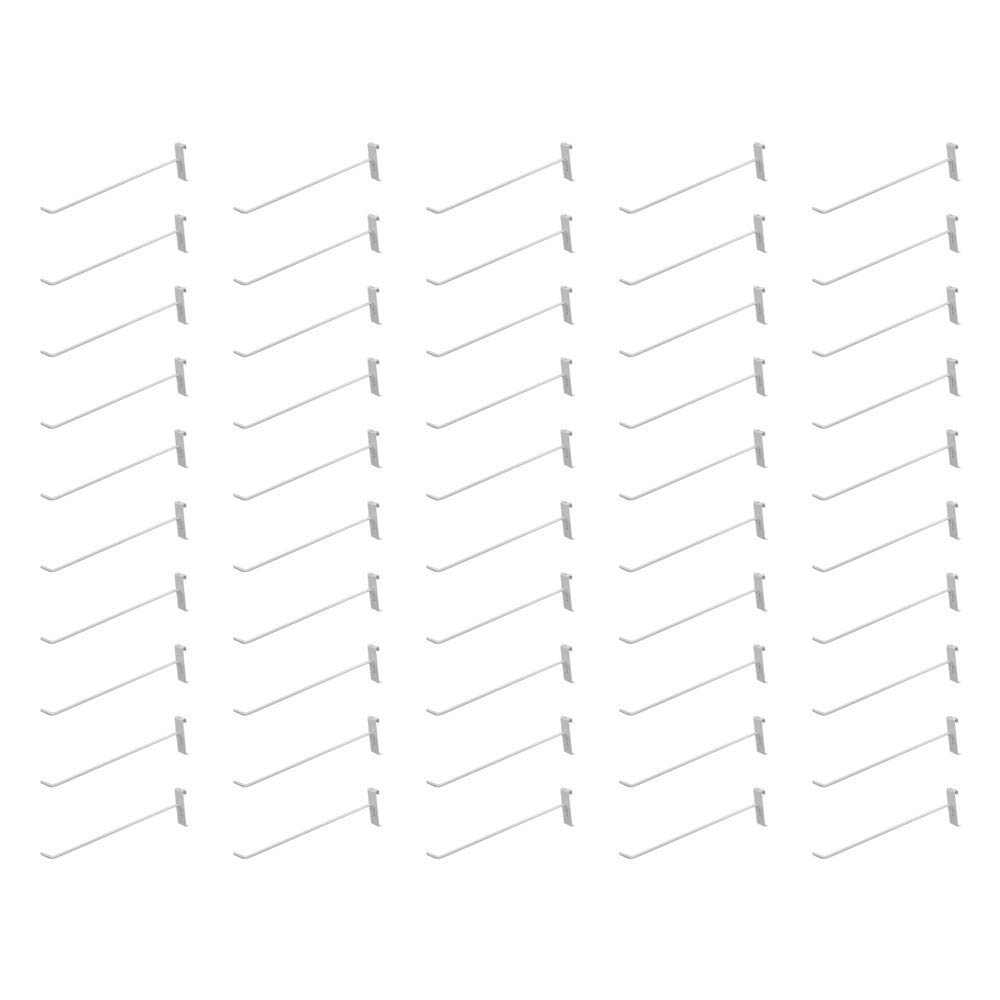 MH GLOBAL Set of 50 Pieces 12 Inch Length Gloss White Metal Wire Gridwall Hooks Grid Panel