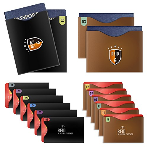 Tecboss 16 RFID Blocking Sleeves,Identity Theft Protection Sleeve Set for Men & Women,Set with Color Coding,Smart Slim Profile Design(12 Credit Card Holders & 4 Passport Protectors(Black & Brow))