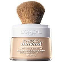 L'Oreal Paris True Match Naturale Mineral Foundation, SPF 19 Sunscreen Face Powder, Soft Ivory, 0.35 Ounce