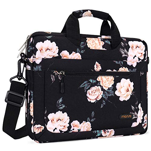 MOSISO Laptop Shoulder Bag Compatible 13-13.3 Inch MacBook Air (Including 2019 2018), MacBook Pro, MacBook Pro USB-C with Adjustable Depth at Bottom, Polyester Messenger Briefcase Sleeve, Black Peony